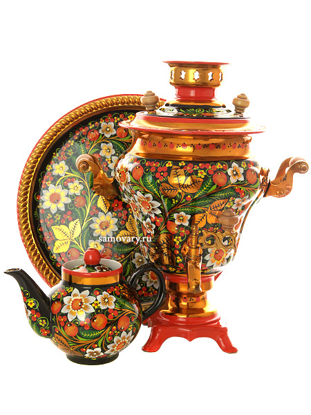 Набор самовар электрический 3 литра с художественной росписью Хохлома рыжая ромашки, арт. 121210Комплект из трех предметов:латунный самовар, металлический поднос и заварочный чайник.<br>