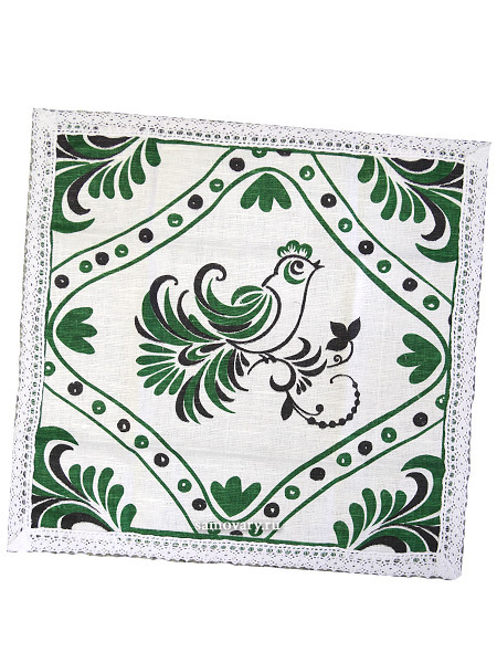 Салфетка Птица, зеленая с кружевом, 30х30, АртельРазмер салфетки - 30*30 см.<br>Хлопколен .<br>