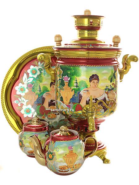 Комбинированный самовар 5 литров с художественной росписью  Купчиха в наборе с подносом и чайником, арт. 310541Набор: самовар комбинированный с красочной художественной росписью, поднос металлический, заварочный чайник, керамическая сахарница.&#13;<br>Труба для отвода дыма в комплекте.<br>