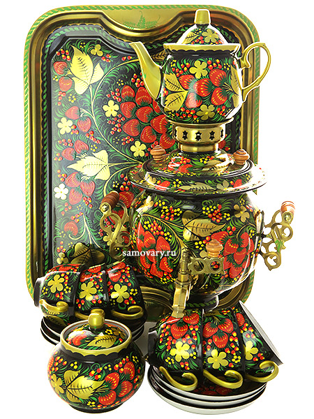 Набор самовар электрический 3 литра с художественной росписью Хохлома классическая с чайным сервизом, арт. 130414сСамовары электрические<br>Комплект из 10 предметов:латунный самовар, металлический поднос, заварочный чайник, сахарница и 6 чайных пар.<br>