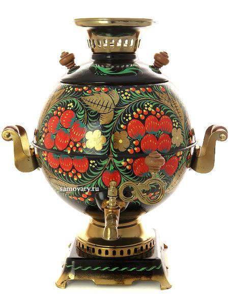 Электрический самовар 5 литров с художественной росписью Хохлома классическая, шар, арт. 110488Латунный ретро-самовар с термостойкой росписью.<br>