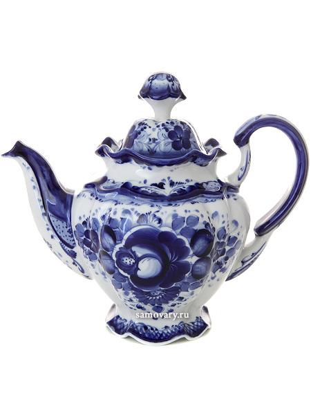 Чайник заварочный керамический Гжель Семейный №2Чайник керамический с ручной росписью.<br>