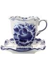 Чайная пара с художественной росписью Гжель ТеремокКерамическая чайная пара с ручной художественной росписью.&#13;<br>Объем - 250 мл<br>