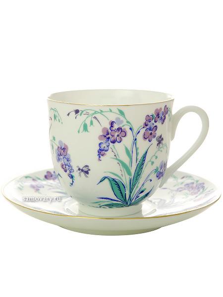 Кофейная чашка с блюдцем форма Ландыш, рисунок Незабудки, Императорский фарфоровый заводФарфоровая кофейная пара.&#13;<br>Объем чашки - 180 мл.<br>