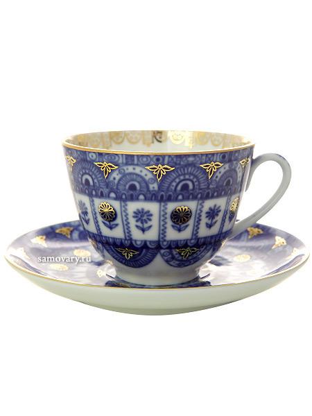 Чашка с блюдцем чайная форма Весенняя, рисунок Арочки, Императорский фарфоровый заводФарфоровая чайная пара.&#13;<br>Объем -  250 мл.<br>