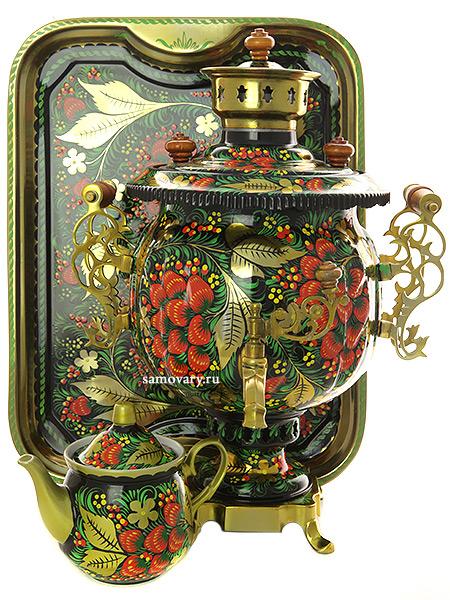 Комбинированный самовар 4,5 литра шар с художественной росписью Хохлома классическая в наборе с подносом и чайником, арт. 311110Набор: самовар комбинированный шар с красочной художественной росписью, поднос металлический и заварочный чайник керамический.&#13;<br>Труба для отвода дыма в комплекте.<br>