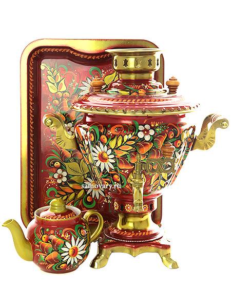 Набор cамовар электрический 2 литра с художественной росписью Хохлома на красном фоне, арт. 110379Комплект из трех предметов:латунный самовар, металлический поднос и заварочный чайник.<br>