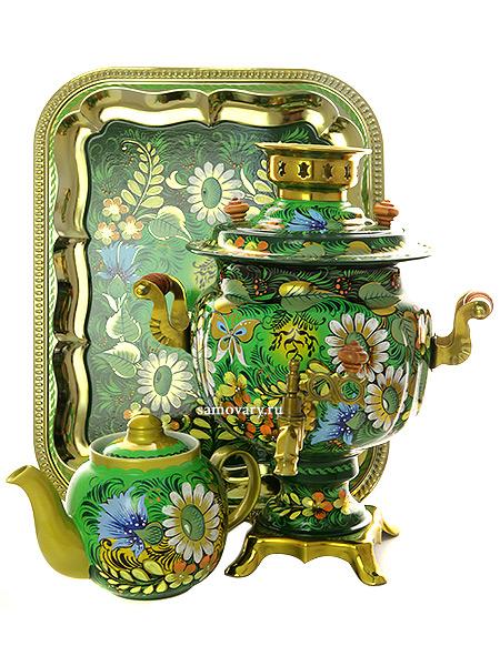 Набор самовар электрический 3 литра с художественной росписью Солнышко на зеленом фоне, арт. 155650Самовары электрические<br>Комплект из трех предметов:латунный самовар, металлический поднос и заварочный чайник.<br>