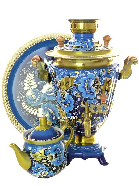 Набор самовар электрический 3 литра с художественной росписью Кудрина на голубом фоне, арт. 121211Самовары электрические<br>Комплект из трех предметов:латунный самовар, металлический поднос и заварочный чайник.<br>