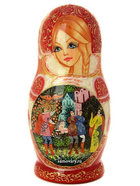 Набор матрешек Золотая Русь на розовом фоне.Сказки, арт. 586Набор из 5 штук. <br>Высота - 16 см.<br>