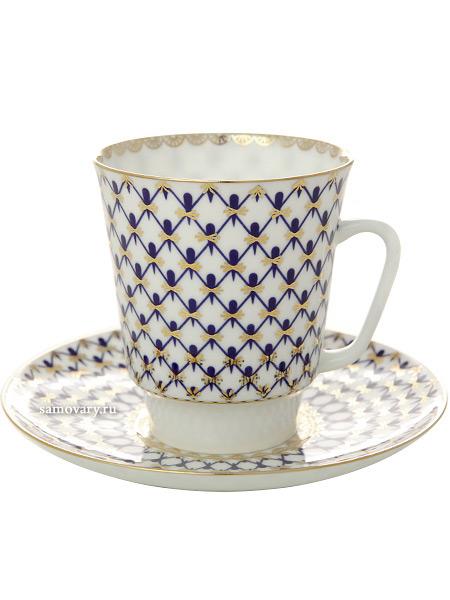 Фарфоровая кофейная чашка с блюдцем форма Майская, рисунок Кобальтовая сетка, Императорский фарфоровый заводФарфоровая кофейная пара.<br>Объем чашки - 165 мл.<br>