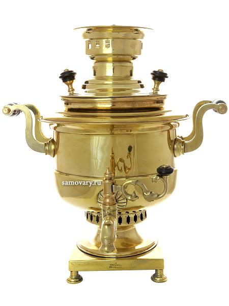 Угольный самовар 7 литров желтый кастрюля, произведен в начале XX века фабрикой Соболева в Москве, арт. 450178Антикварный латунный самовар.  &#13;<br>Отреставрирован тульскими мастерами и готов к эксплуатации.<br>