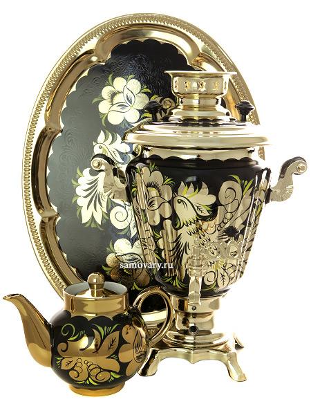 Самовар электрический 3 литра с чайником и подносом, роспись Золотые цветы на черном фоне с терморегулятором, арт. 161656аКомплект из трех предметов:латунный самовар, металлический поднос и заварочный чайник.<br>Оборудован функцией автоматического отключения при закипании воды....<br>