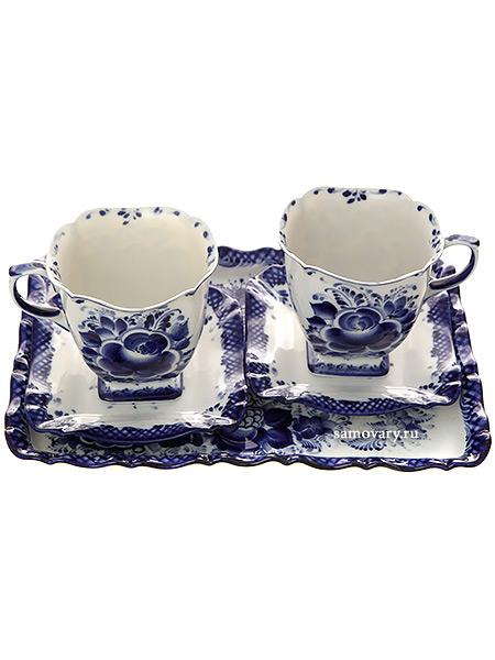 Набор чайный на 2 персоны с художественной росписью Гжель Бодрое утроГжельский набор из 2 чайных пар и подноса.<br>