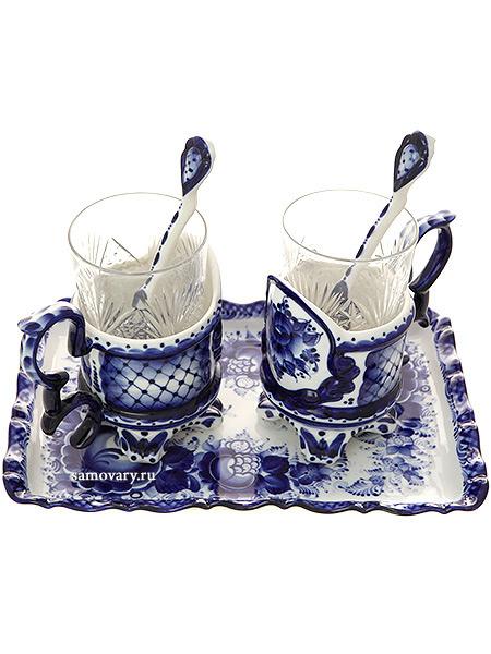 Набор чайный на 2 персоны с художественной росписью гжель ПремьерГжельский набор из 2 подстаканников и подноса.<br>