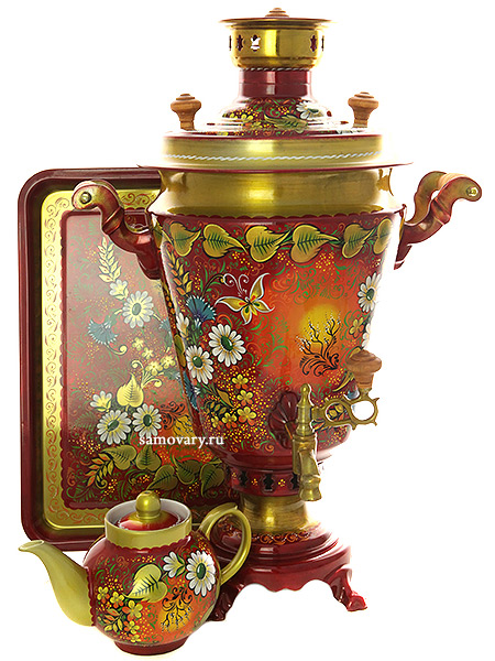 Комбинированный самовар 7 литров с художественной росписью