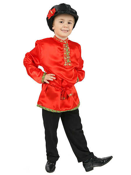 Косоворотка для мальчика атласная красная, 1-6 летТрадиционная русская рубаха с косым воротом.<br>Возраст от 1 до 6 лет.<br>