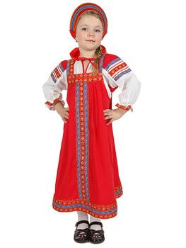 Русский народный костюм для девочки хлопковый комплект красный