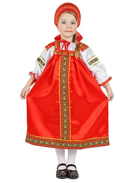 Русский народный костюм для девочки атласный комплект Василиса: сарафан и блузка, 7-12 летДетский костюм для девочки, возраст 7,8,9,10,11,12 лет.<br>Ткань - атлас. Цвет - красный.<br>
