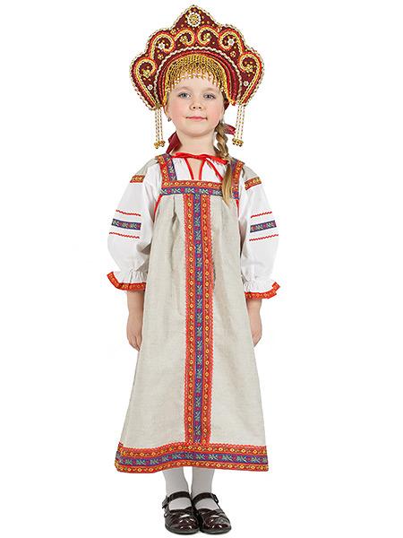 Русский народный костюм, детский, льняной комплект бежевый Забава: сарафан и блузка, 7-12 летДетский костюм для девочки,возраст 7,8,9,10,11,12 лет.<br>Ткань - лен. Цвет - серый.<br>