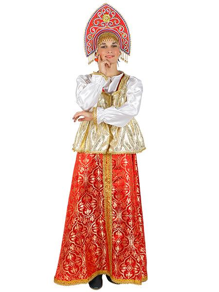 Русский народный костюм, атласный комплект Люкс: сарафан и блузка, размер XS-MКрасочный русский костюм размер  XS-M. &#13;<br>Ткань - атлас. Цвет - красный, золотой.<br>