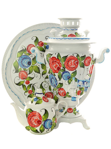 Набор самовар электрический 3 литра с художественной росписью Цветы на белом фоне, арт. 121416Самовары электрические<br>Комплект из трех предметов:латунный самовар, металлический поднос и заварочный чайник.<br>