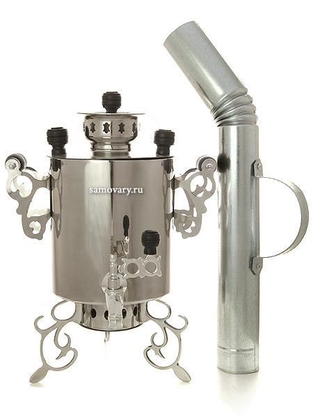 Угольный самовар 2,5 литра из нержавеющей стали Паук с трубой для дыма, арт. 220537Самовар из нержавеющей стали в комплекте с трубой.<br>