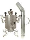 """Угольный самовар 2,5 литра из нержавеющей стали \""""Паук\"""" с трубой для дыма, арт. 220537"""