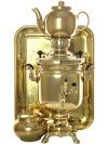 "Набор самовар электрический 3 литра желтый цилиндр с автоотключением \""Золото\"", арт. 120304к"