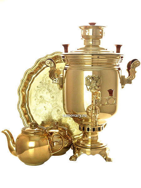 Комбинированный самовар 5 литра латунный цилиндр с накладным гербом в наборе, арт. 331016кНабор из самовара,подноса,заварочного чайника и сахарницы.&#13;<br>Труба для отвода дыма в комплекте.<br>