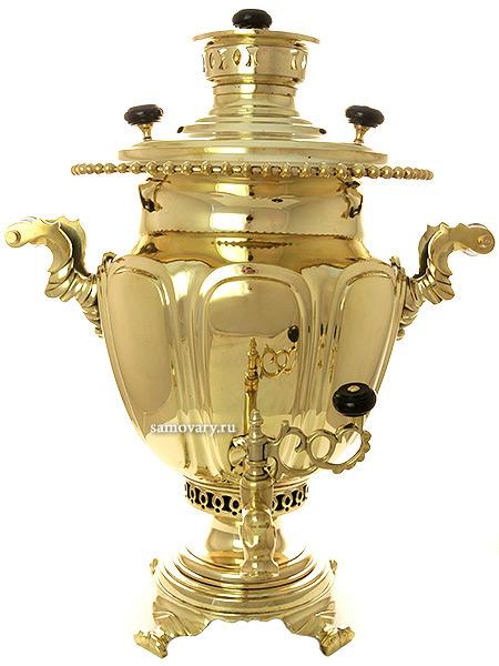 Угольный самовар 5 литров желтый ваза, произведен на фабрике братьев Петровых в конце XIX века, арт. 450120Латунный самовар.  <br>Отреставрирован тульскими мастерами и готов к эксплуатации.<br>