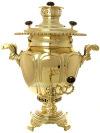 Угольный самовар 5 литров желтый ваза, произведен на фабрике братьев Петровых в конце XIX века, арт. 450120Латунный самовар.  &#13;<br>Отреставрирован тульскими мастерами и готов к эксплуатации.<br>