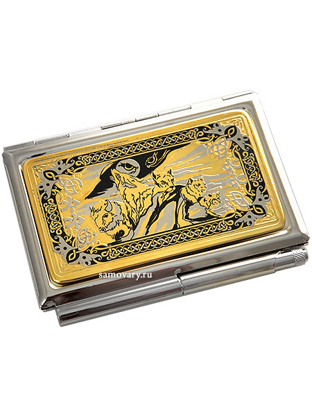 Визитница позолоченная с гравюрой Взгляд ЗлатоустВизитница сувенирная позолоченная с гравюрой.&#13;<br>Упакована в стильную дизайнерскую коробку.&#13;<br>Ручная работа.<br>