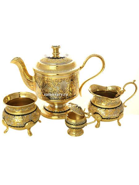 Чайный набор Славянский позолоченный в подарочной коробке, ЗлатоустПозолоченный набор для чая из чайника, сливочника, сахарницы, чайной ложки.&#13;<br>Весь набор упакован в стильную дизайнерскую коробку.&#13;<br>Ручная гравировка.<br>