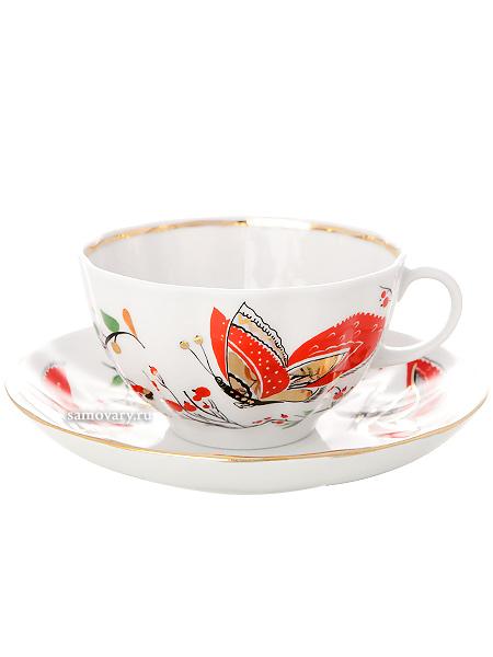 Сервиз чайный форма Тюльпан, рисунок Бабочки 6/20, Императорский фарфоровый заводСервиз чайный из 20 предметов: 6 чайных пар, чайник заварочный, сахарница и 6 десертных тарелок.<br>