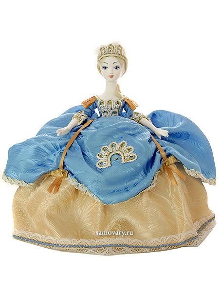 Кукла на чайник Елизавета в голубом, арт. 29Кукла тряпичная декоративная на заварочный чайник.<br>
