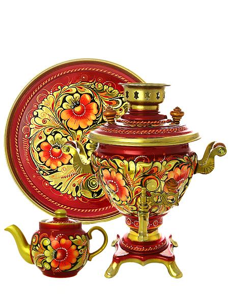 Набор самовар электрический 2 литра с чайником художественная роспись Кудрина золотая, арт. 150507Комплект из трех предметов:латунный самовар, металлический поднос и заварочный чайник.<br>