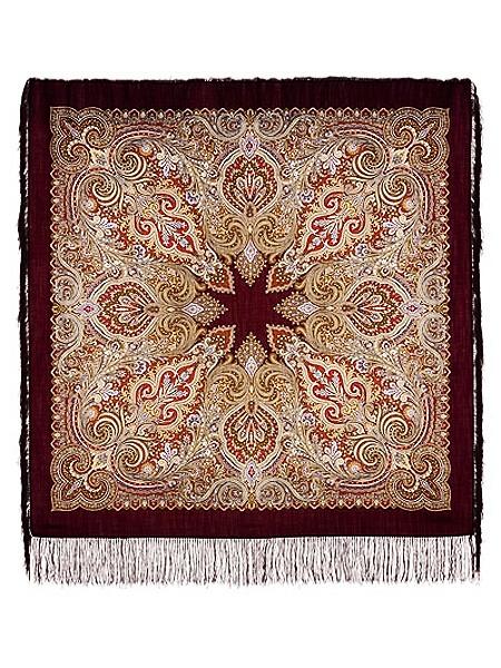 Шерстяной Павлопосадский платок Февраль, 125*125 см, арт. 715-7Платок шерстяной с набивным рисунком и шелковой бахромой.&#13;<br>Размер 125*125 см.<br>