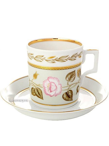 Сервиз чайный форма Гербовая, рисунок Нефритовый фон 6/20, Императорский фарфоровый заводСервиз чайный из 20 предметов: 6 чайных пар, чайник заварочный, сахарница и 6 десертных тарелок.<br>