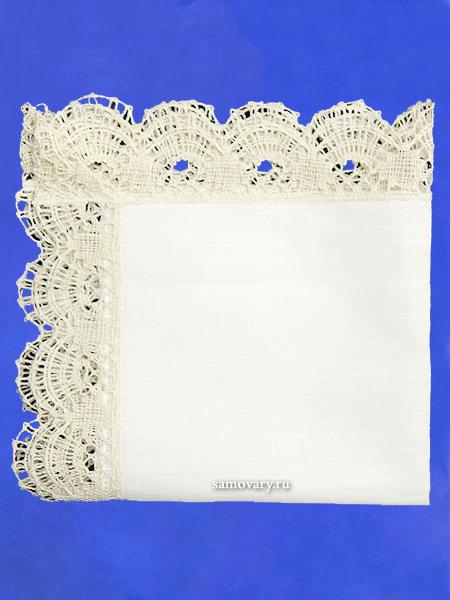 Льняная салфетка белая со светлым кружевом, арт. 6нхп-654, 33х33Льняная салфетка с кружевом.<br>Размер - 33*33 см.<br>