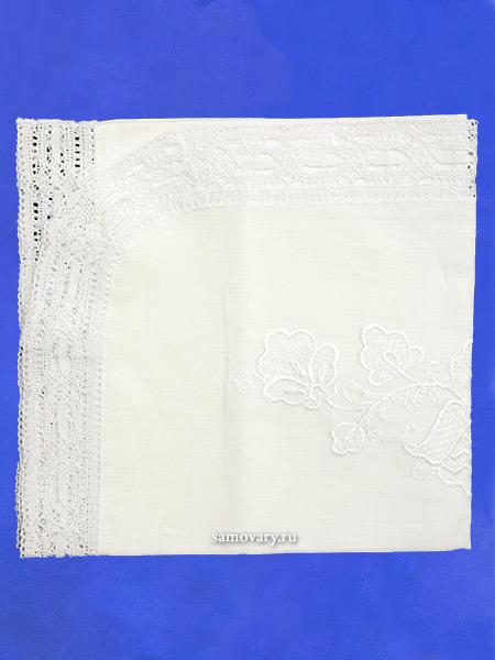 Льняная салфетка овальная белая с белым кружевом и кружевной отделкой (Вологодское кружево), арт. 0с-824, 95х50Льняная салфетка с кружевом.<br>Размер - 95*50 см.<br>