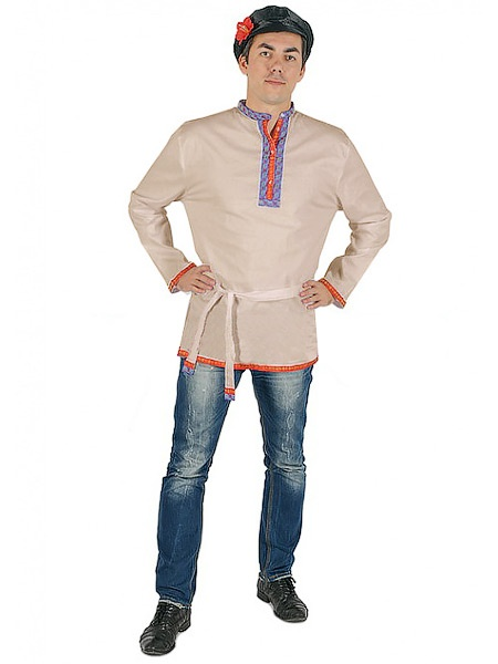 Косоворотка мужская льняная бежевая, XS-XXLТрадиционная русская рубаха с косым воротом.&#13;<br>Размер от XS до XXL.<br>