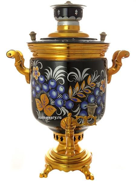 Тульский угольный самовар 7 литров цилиндр с художественной росписью Рябина на синем фоне, арт. 250727Тульский латунный самовар классической формы с художественной росписью. &#13;<br>Труба для отвода дыма в комплекте.<br>