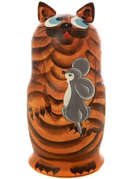 Набор матрешек Кот рыжий, серия Животные, арт. 589Набор из 5 штук.&#13;<br>Высота - 16,5 см.<br>