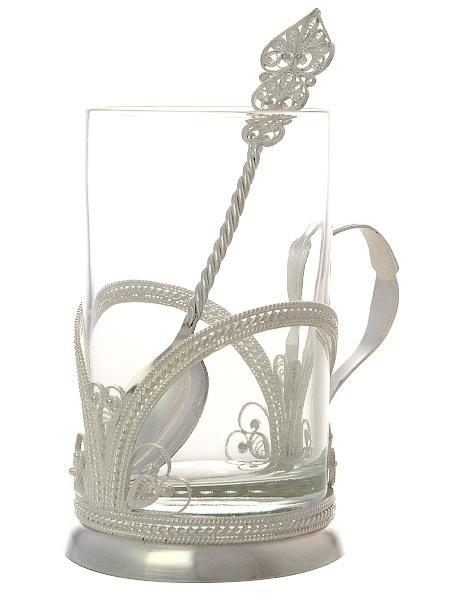Набор для чая Радуга на 1 персону, КазаковоАжурный набор из посеребренного подстаканника, чайной ложки и термостойкого стакана.&#13;<br>Упакован в стильную дизайнерскую коробку.<br>