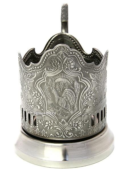 Никелированный Кольчугинский подстаканник ГлухарьЛатунный подстаканник с никелированным покрытием.<br>