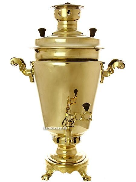 """Угольный самовар 5 литров желтый """"конус"""" восстановлен частично, для интерьера, арт. 480819 Тула"""