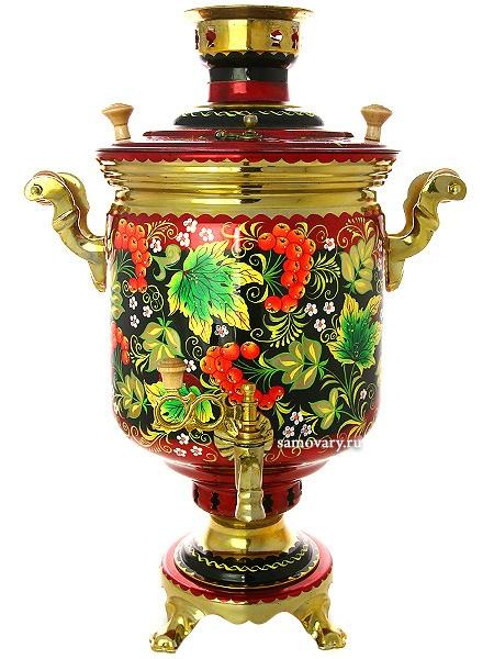 Комбинированный самовар 5 литров с художественной росписью Рябиновая фантазия, арт. 310506Самовар комбинированный&#13;<br>цилиндр с красочной художественной росписью.&#13;<br>Труба для отвода дыма в комплекте.<br>