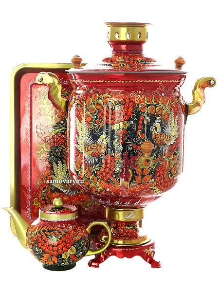 Набор самовар электрический 10 литров с художественной росписью Хохлома на красном фоне мелкая, арт. 131066Самовары электрические<br>Комплект из трех предметов:латунный самовар, металлический поднос и заварочный чайник.<br>