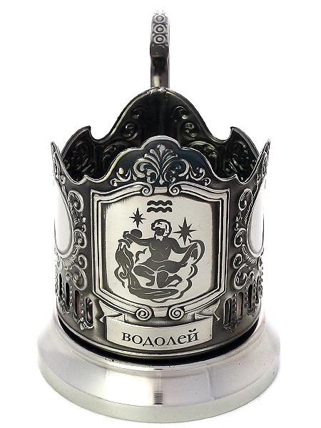 Никелированный подстаканник с гравировкой Знак Зодиака - Водолей КольчугиноНикелированный подстаканник в комплекте с чайной ложкой.<br>